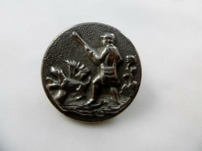 Antique 19th Century Brass French 'Paris' Dog Gentleman Hunting Livery Button