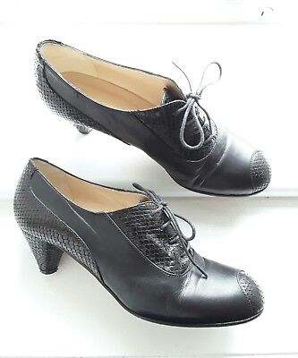 Hobbs Vintage 30s 40s WW2 Black Leather Cone Heel Shoes Size 7/40