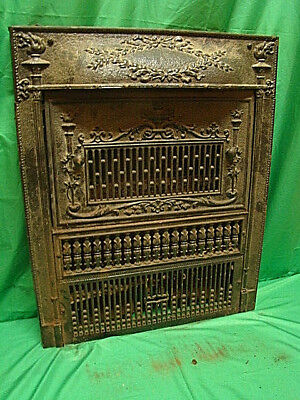 Antique 1800's Cast Iron Gas Fireplace Insert Torch Design Ornate Unique H