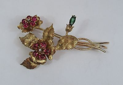 Stunning Liberty 18K 18ct Gold, Ruby, Diamond & Tourmaline Floral Spray Brooch