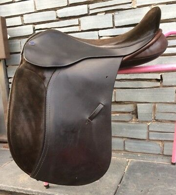 """No Reserve! 17"""" MW Sue Carson Hulland VSD WH Saddle. Brown. Workers. Half Suede."""