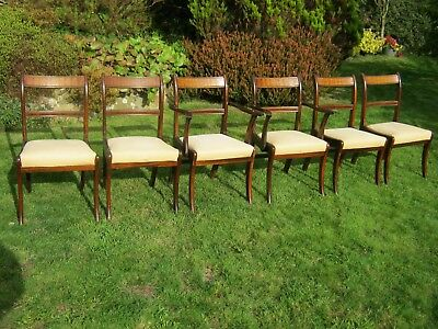 Regency Style Mahogany and Brass Inlaid Dining Chairs - Set of 6 (inc 2 Carvers)