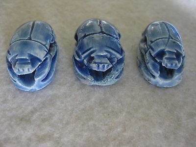 3 x  Blue Scarab Beetles with Hieroglyphics Beads