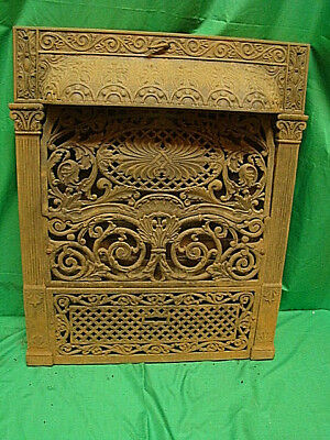 Antique 1800's Cast Iron Gas Fireplace Insert Ornate Unique Design