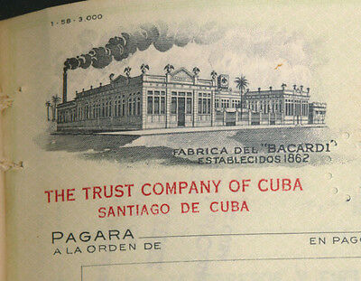 1959 CUBAN BACARD ~ Set x25 check documents CONSECUTIVE #s ~ Trust Company Cuba