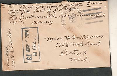 WWII censor cover Catholic Soldiers Guild Pvt Wm Bowden APO 925 Adelaide River