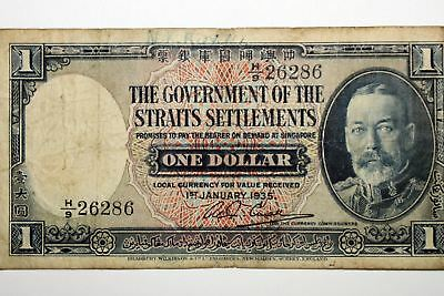 1935 The Government of the Straits Settlements $1 Bank Note Very Good (NUM3289)