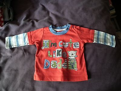 TU 'I'm cute like Daddy' red t-shirt up to 3 months 100% Cotton