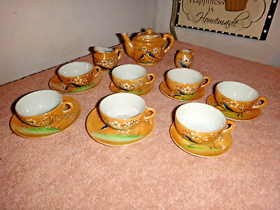 Vintage Luster Ware Child's Tea Set Hand Painted 18 Piece