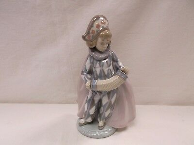 Lladro Figurine 5695 Pierrot Girl Clown Concertina Accordion Excellent!