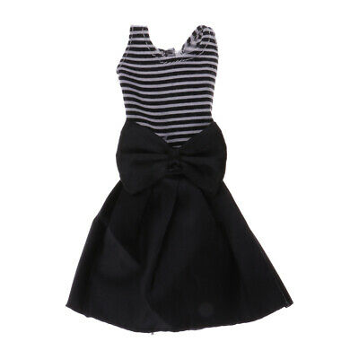 Handmade Fashion Clothes Black Stripes Dress for Barbie Doll Party Costume