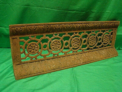 Antique Late 1800's Cast Iron Fireplace Bumper Surround Insert Ornate Design A