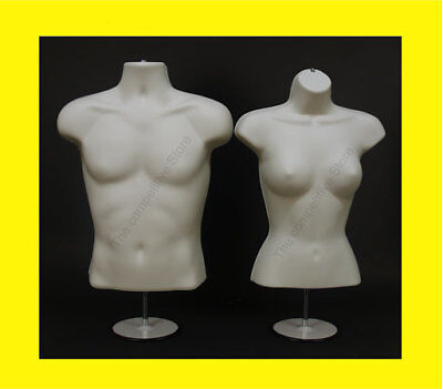 2 Flesh Mannequins Male + Female Torso Dress Forms Set with 2 Stands - S-M Sizes