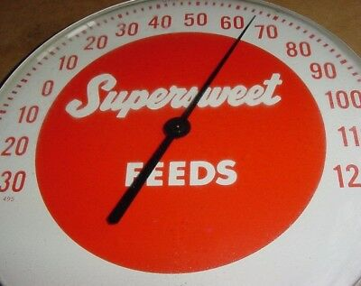 SUPER NICE * 1950s Vintage SUPERSWEET FEEDS Old Dial Thermometer Sign