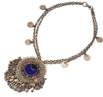 Boho Banjara Vintage Tribal Gypsy Kuchi Coins Belly Dance Chain Ethnic Necklace