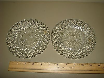 """2 Anchor Hocking Waterford Waffle Saucer  Crystal Clear 6"""" Depression Disc 1944"""