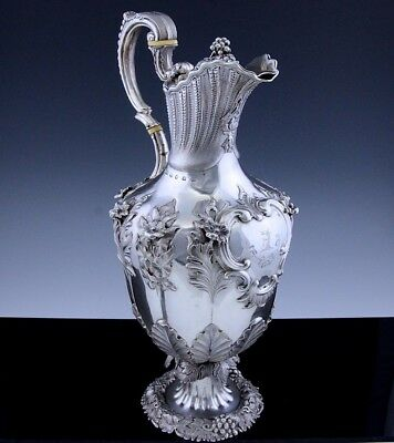 Exceptional V.large 1853 Victorian Sterling Silver Claret Wine Ewer Pitcher Jug