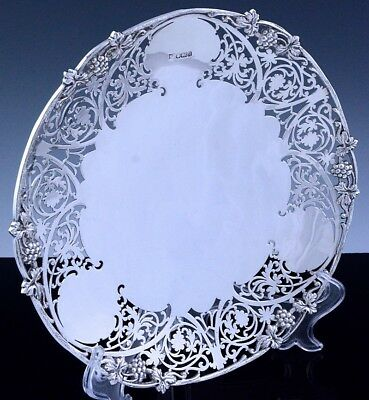 Super Fine Quality London Sterling Silver Pierced Footed Cake Plate Salver Tray