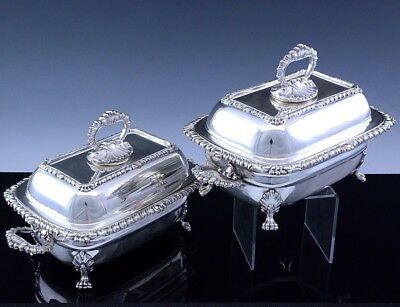 Rare Pair Georgian Victorian Silver Plate Entree Dishes Sauce Tureens On Stands