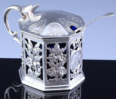 INCREDIBLE 1853 VICTORIAN STERLING SILVER PIERCED REPOUSSE MUSTARD POT w SPOON