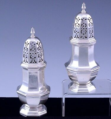 2 Excellent 1909 1927 Georgian Form English Sterling Silver Pepper Pots Casters