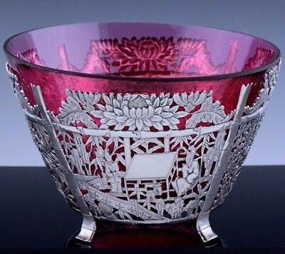 EXCEPTIONAL c1870 CHINESE STERLING SILVER FIGURAL DRAGON CENTERPIECE BOWL CUMWO