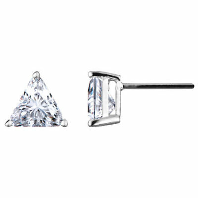Elegant 2.00 CTW Trilion cut Diamond 18K White Gold Earrings Set GIA certified