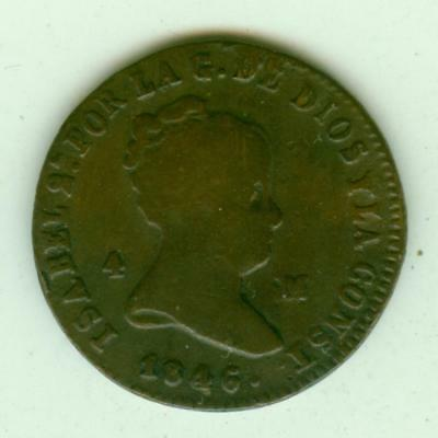 Spain 1846Ja 4 Maravedis-Lot C14