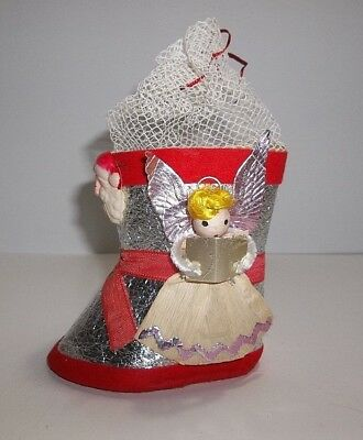 """Antique Dresden STOCKING CANDY CONTAINER Christmas Decoration 4"""" Pink Wings"""