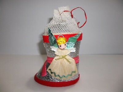 """Antique Dresden STOCKING CANDY CONTAINER Christmas Decoration 4"""" Green Wings"""