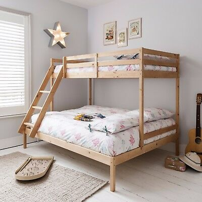 Triple Sleeper Bed Bunk Bed in Natural Double & Single Kids  Kent