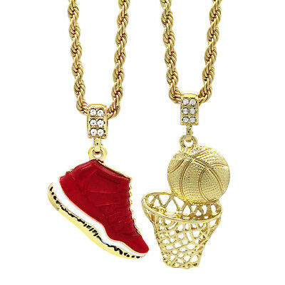 "Gold Plated Hip Hop Retro 11 Gym Red & Plain Basketball Pendant 4mm 24"" Chain"