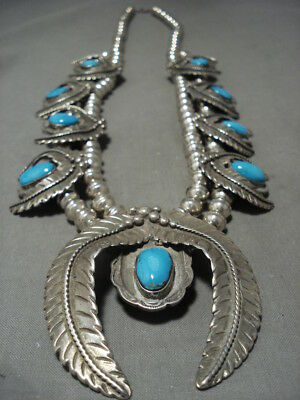 Opulent Vintage Navajo Persin Turquoise Silver Squash Blossom Necklace