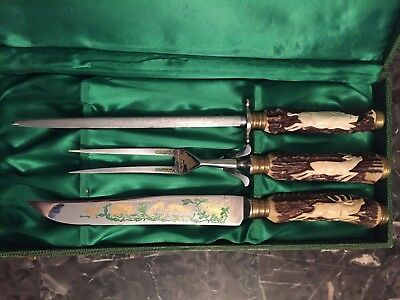 Anton Wingen Jr 3 pc Carving Knife Set Stag Handles Solingen Germany w/case