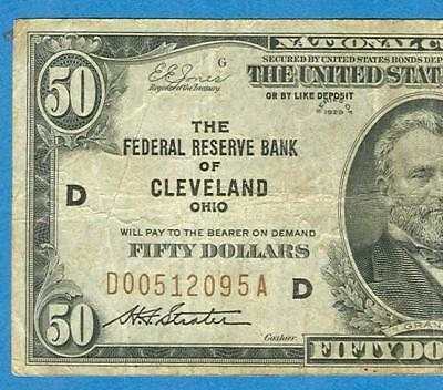 $50.1929  Cleveland  Brown Seal  Federal Reserve Banknote   Very  Fine