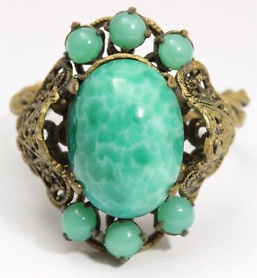 Vintage Art Deco Ornate Czech Peking Jade Art Glass Bead Cluster Adjustable Ring