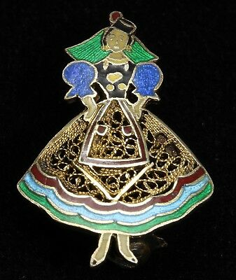 Vintage TOPAZIO Sterling Silver Small Enamel Lady Dancer Figural Brooch Pin 925