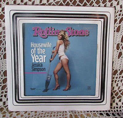 """JESSICA SIMPSON """"Housewife Of Year"""" Rolling Stone Authentic Funky Glass w Frame"""