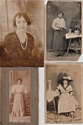 4  African American vintage antique photo  portraits VERY  pretty woman  early