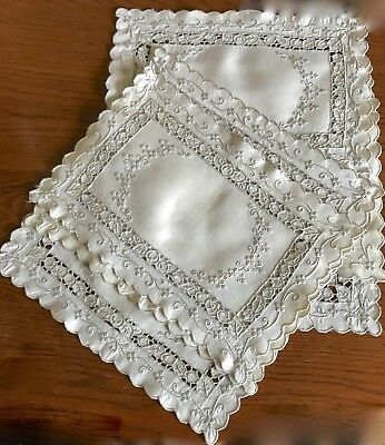 Vintage Embroidered Linen Placemats Set Of 8