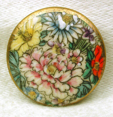 """Vintage Satsuma Button Colorful Hand Painted Flowers w/ Gold Accents 15/16"""""""