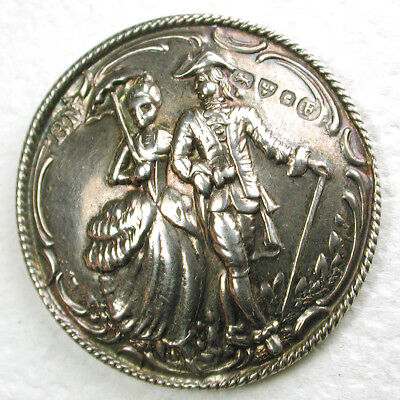 """Antique Sterling Silver Button Detailed Man & Woman Strolling Scene- 1 & 1/8"""""""