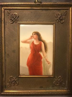 Hutschenreuther Germany Artist Signed Wagner Porcelain Plaque of Echo by Bisson