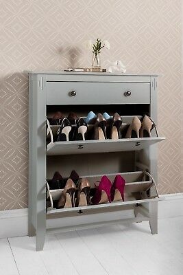 Shoe Storage Cabinet Deluxe with Storage Drawer Cotswold in Silk Grey