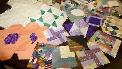 Lot of 22 VTG + New Quilt Blocks=Nice Variety Quilt top cottons fabric CRAFTS