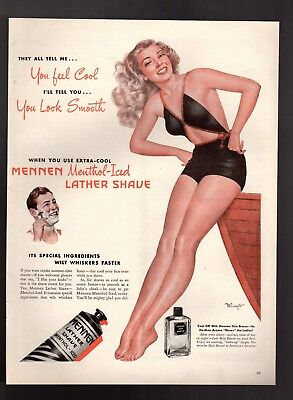 1946 Mennen Menthol  Lather Shave Pin Up Girl Vintage Print Ad