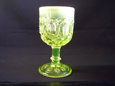L G Wright Glass Vaseline Opalescent Moon and Stars Wine Goblet