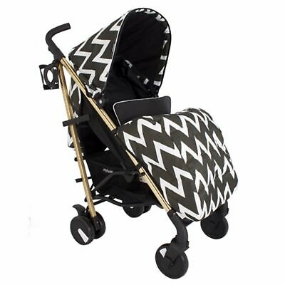 My Babiie MB51 From Birth Baby Stroller / Pram - Black and Gold Chevron
