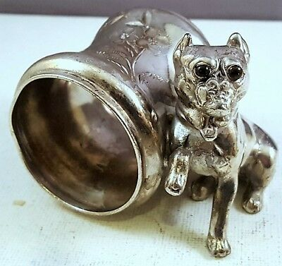 Ant Silver Plate BOSTON TERRIER or BOXER FIGURAL NAPKIN RING Glass or Stone Eyes
