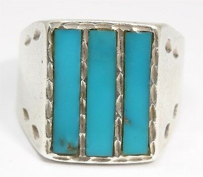 Navajo SILVER CLOUD Sterling Silver Stamped Turquoise Inlay Cigar Band Ring 925